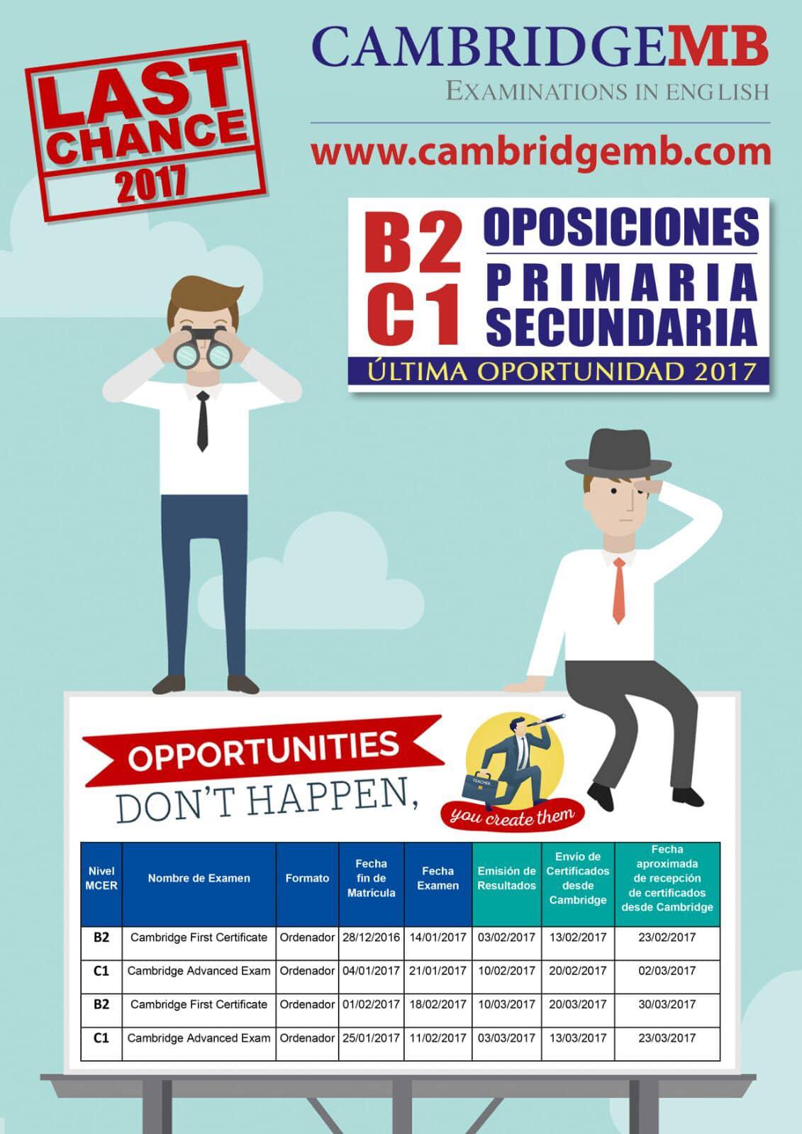 Fechas de Exámenes Cambridge B1 y B2 orientadas a oposiciones de Primaria y Secundaria en Cáceres